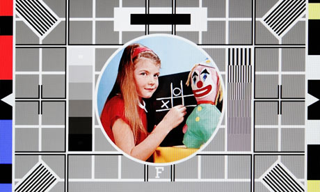 BBC test card 'F', featuring Carole Hersee and Bubbles the clown.